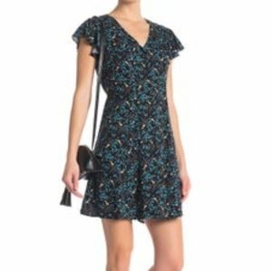 NWOT Abound black floral dress with ruffle sleeves